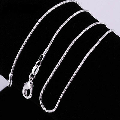 """Sterling Silver 925 Snake 2mm Chain Necklace 16"""" 18"""" 20"""" 22"""" 24"""""""