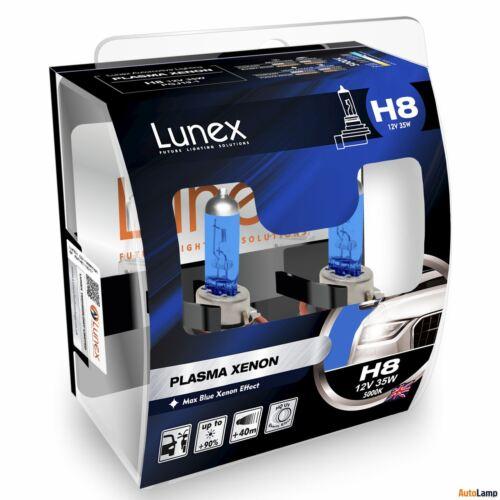 LUNEX PLASMA XENON H8 Headlamps Halogen 5000K 12V 35W Xenon Effect PGJ19-1 Twin