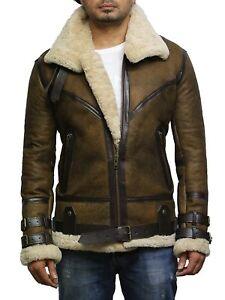moderno y elegante en moda mejor mayorista oferta Detalles de Brandslock Hombre Piloto Piel de Oveja Genuina Cazadora Aviador  Cuero Chaqueta
