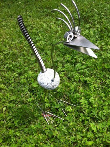 Edelstahl Vogel Steinvogel 35cm Granitvogel V2A