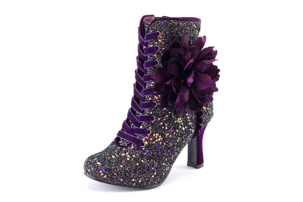 Joe marrons Neuf Rebel Violet Glitter velours talon haut Bottines à Lacets SZ 3-8