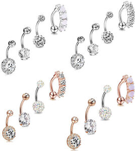 Details About 4pcs Belly Button Rings Navel Belly Piercing Body Jewelry Belly Piercing 14g