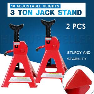2PCS-Heavy-Duty-Car-Lifting-Stand-3Ton-Floor-Jack-Ratchet-Adjustable-Hoist-Steel
