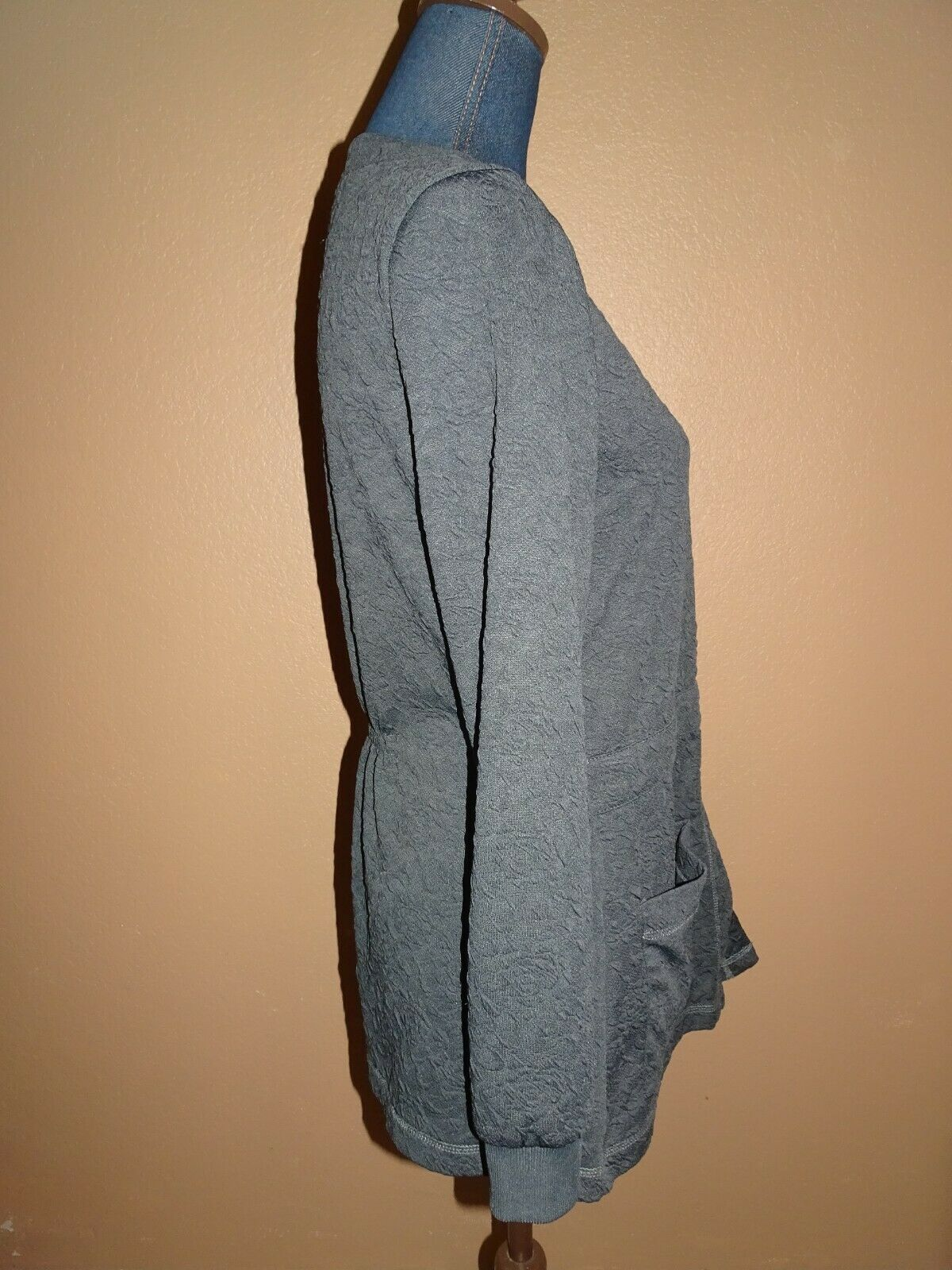 KOI Claire Charcoal Gray Button Front Knit Scrub … - image 3