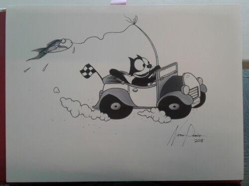 "/""Felix The Cat Gets Away/"" PRINT ART car drawing black Parrish fishing automotive"