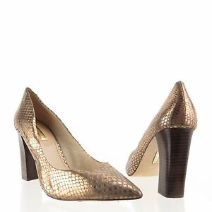Women-039-s-Louise-et-Cie-Jenniy-Shoes-Gold-Leather-Snakeprint-Heel-Pumps-Sz-9-M-NEW