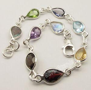 925-Pure-Silver-Cut-Drop-MULTISTONES-MULTICOLOR-Bracelet-8-3-034-NEW-ITEM