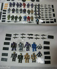 10 pcs lot Halo WAR Mega Bloks UNSC Spartan,Brute,ELITE Random pick w/guns,stand