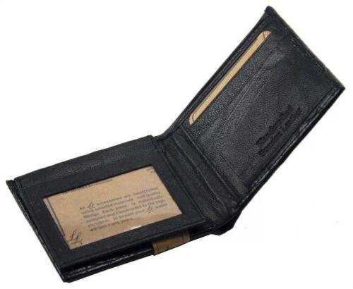 Men/'s Leather Bifold  Wallet Ostrich Print W//card Slots-Brown