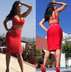 Red Bandage Skirt and Cropped Top/Bra let Two piece Set UK6-12(S,M,L)