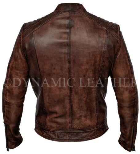 Biker Brown Smart Real Racer Leather Vintage Jacket Mens Cafe Antique dqpdt