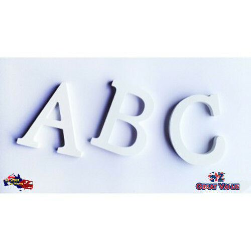 White Wooden Home Decor Craft Alphabet Letters and Numbers   8cm tall Uppercase