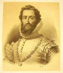 Nouvelle Mode Lithographie De J-b Mauzaisse C1825 Portrait De Robert Devereux 2e Comte D'essex