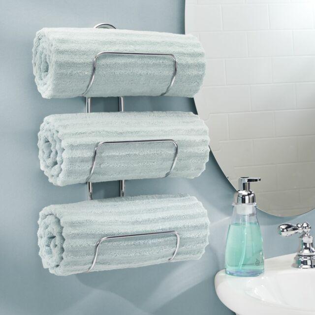 Towel Rail Silver Two Tier Metal Wall Shelf