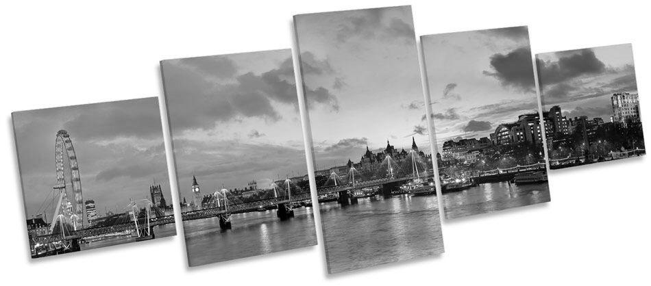 London Cityscape River Skyline B&W CANVAS WALL ART Five Panel Print Picture