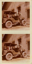 PHOTO ANCIENNE - VINTAGE SNAPSHOT - MILITAIRE JEEP SOLDAT COULEUR - MILITARY CAR