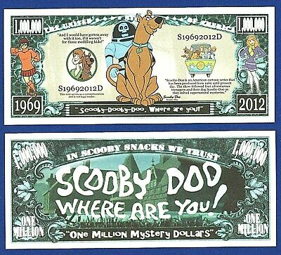 5-Scooby-Doo Dollar Bills  Dog Cartoon Play Money Novelty  Gift V2
