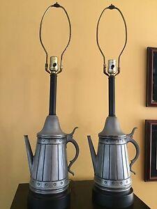 Vintage-Pair-of-Primitive-Country-Metal-Tea-Coffee-Pot-Lamps