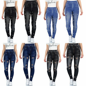 821f5ab19d48bb Das Bild wird geladen Malucas-Damen-Jeans-Look-Leggings -Leggins-Jeggings-Jeggins-