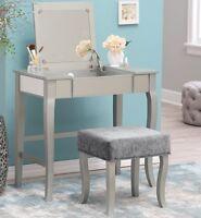 Glamrous Mirrored Vanity Set Make-up Table Stool Dressing Room Bedroom Furniture