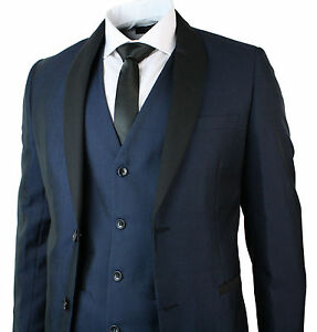 Mens-Suit-Shawl-Lapel-Tuxedo-Dinner-Suit-3-Piece-Wedding-Prom-Party-Blue-Black