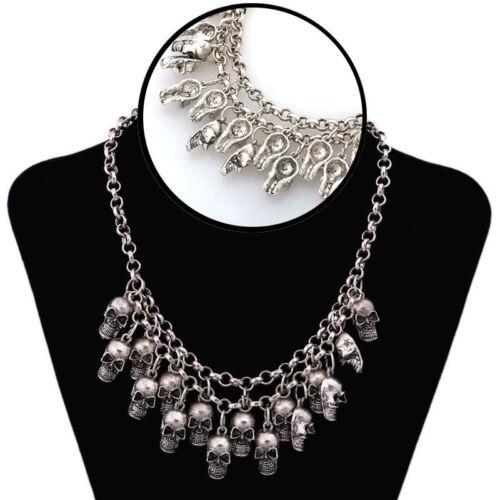 Punk Style Jewelry Statement Bib Chunky Gothic Skull Pendant Necklace