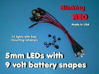 10 Pcs 5mm Blinking Red Wired Leds 9 Volt Led On Battery Snaps 9v Clip
