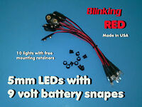 10 Pcs 5mm Blinking Red Wired Leds 9 Volt Led On Battery Snaps 9v Clip