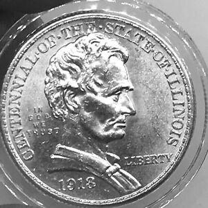USA 1/2$ 1918 Illinois Centennial Abraham Lincoln KM#143 Silver aXF+ High Grade