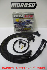 Moroso-9867M-Plug-Wire-Set-8mm-HEI-90-Under-Black-Assembled-Small-Block-Chevy