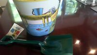 Curious George Tin Sand Pail & Green Shovel Schylling Childrens Toy 1996 Vintage