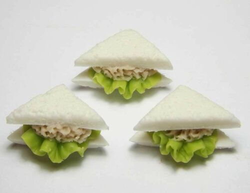 Set of 3 Dollhouse Miniature Tuna Sandwiches Doll Mini Food Bakery Bread