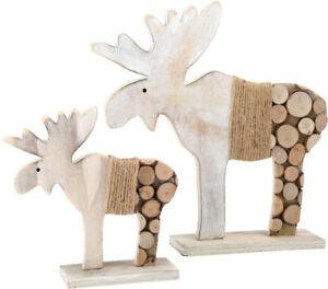 2er set deko elch mit baumscheiben weihnachtsdeko rentier. Black Bedroom Furniture Sets. Home Design Ideas