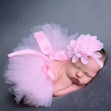Girl Baby Newborn Clothes Sets Flower Headwear Skirt Cute Photo Prop Dress Pink