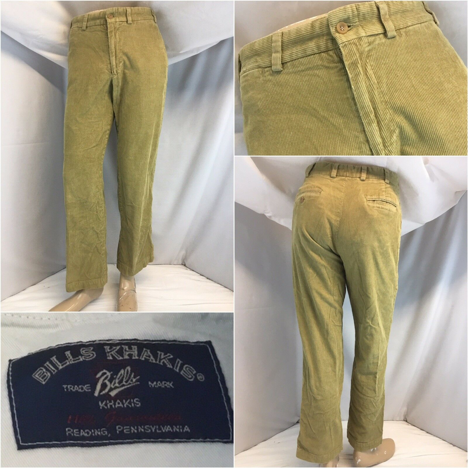Bill's Khakis Pants 31x30 Tan Corduroy Cotton Flat Front M2 YGI L8-182