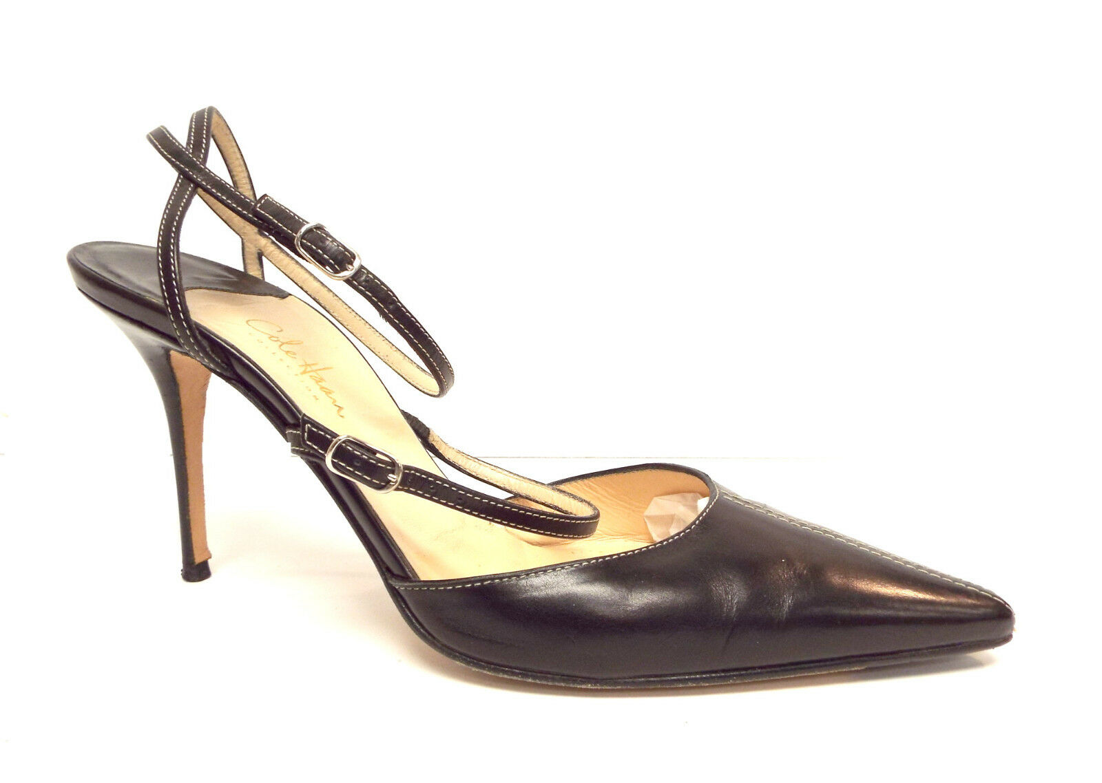 COLE HAAN Size 8.5 Black Leather Ankle Strap Heels Pumps shoes 8 1 2