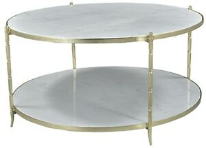 Details About 36 W Doris Coffee Table Round Two Tier Solid White Marble Surfaces Metal Frame