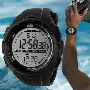 Hombre-Led-Digital-Militar-reloj-resistente-al-agua-50-m-Deportivo-exterior