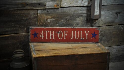 Rustic Hand Made Vintage Wooden Sign ENS1000239 4th of July Stars Wood Sign