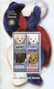 Grenade-2002-neuf-sans-charniere-All-American-Teddy-Bears-100th-Anniv-4-V-M-S-Army-Navy-timbres