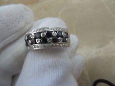 LeVian 18k White Gold Natural Sapphire Vanilla Diamond 9mm Ring Band.  1.5 TCW
