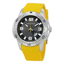 Nautica Silver Dial Yellow Silicone Mens Watch NAI12520G