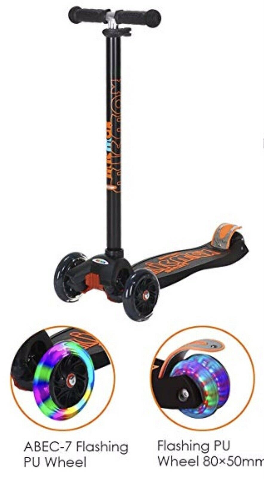 Scooter with Light Up Wheels, Adjustable