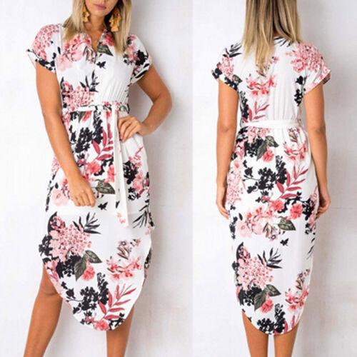Damen Blumen Midikleid Hemdkleid Sommer Strandkleid Partykleid Tunika Longtop DE