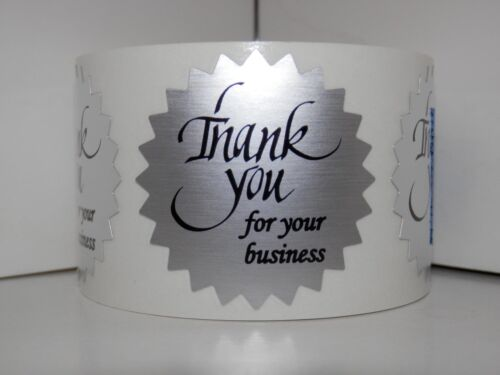 """Thank You For Your Business Label Sticker 1.5/"""" Starburst dull silver foil 250//rl"""