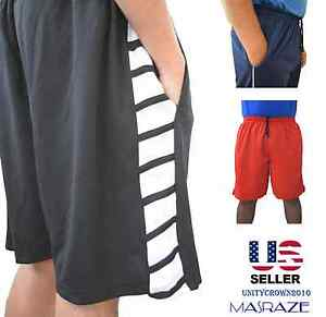 Mens-Basketball-Gym-Fitness-Workout-Athletic-Shorts-with-2-Pockets-M-XL-Fast-Dri