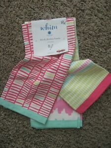 Details about Martha Stewart Collection WHIM 100% Kitchen Towels Set of 3  NWT \