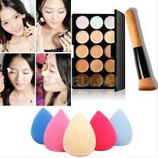 15 Colors Contour Face Cream Makeup Concealer Palette + Sponge Puff Powder Brush