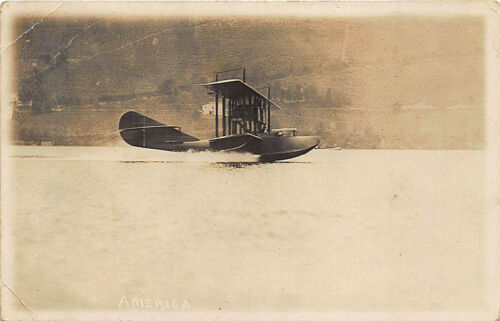 "Pulteney NY ""America"" Airplane Take Off Postcard by H. M. Benner"