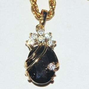 Signed-Kunic-black-faceted-stone-CZ-crystal-gold-tone-drop-pendant-necklace